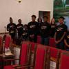 Choir shows off their new shirts--Jesus did it!