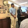 Sahmad Moore receives recognition and award from the Duplin County Board of Education.